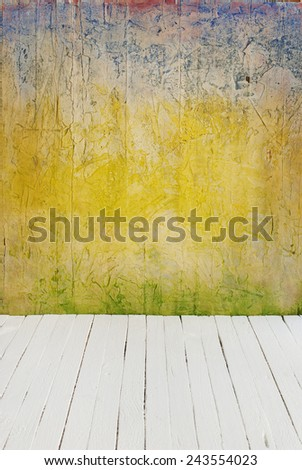 Room interior vintage with color cement wall and wood floor background - stock photo