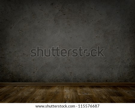 room interior vintage with dark wall background - stock photo
