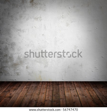 room interior vintage with grunge white wall - stock photo
