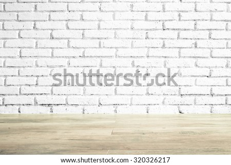 Room interior vintage with white brick wall and wood floor background. - stock photo