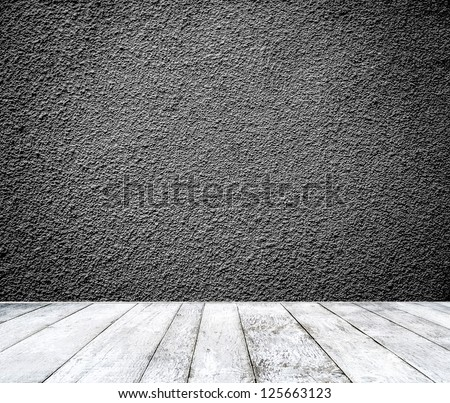 Room interior with black wall - stock photo