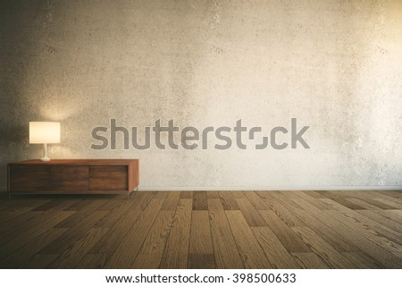 Room interior with empty concrete wall, wooden drawer cabinet with lamp and parquet. Mock up, 3D Rendering - stock photo