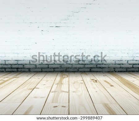 Room interior with old white wall and wood floor background. Focus on floor - stock photo