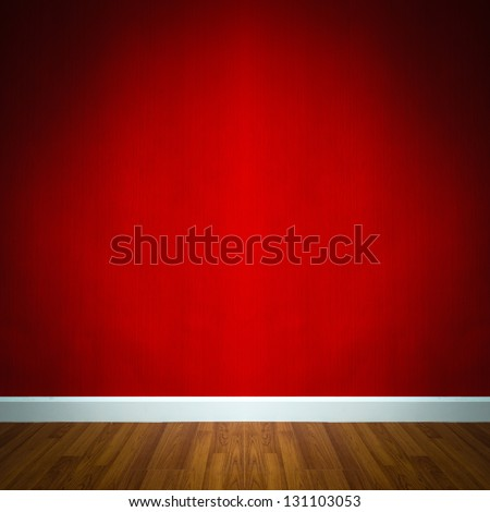 room interior with red wallpaper - stock photo