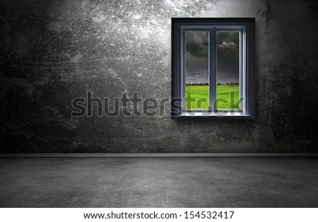 Room interior with window - stock photo