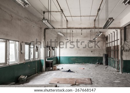 Room of factory is to be demolished - stock photo