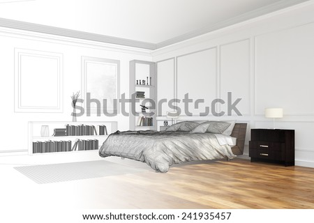 Room planning for bedroom with CAD wireframe mesh and render (3D Rendering) - stock photo