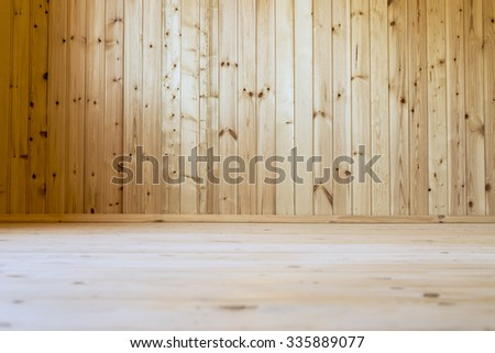 Room upholstered with clapboard.  - stock photo