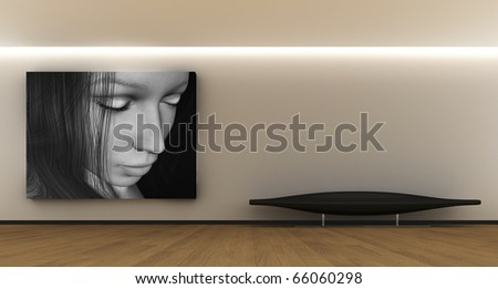 Room whit a panel and sofa - stock photo