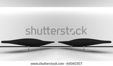 Room whit two black sofa - stock photo