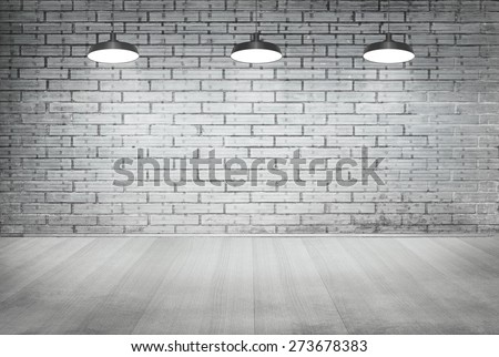 room white brick grunge wall and wood floor with ceiling lamp for background - stock photo