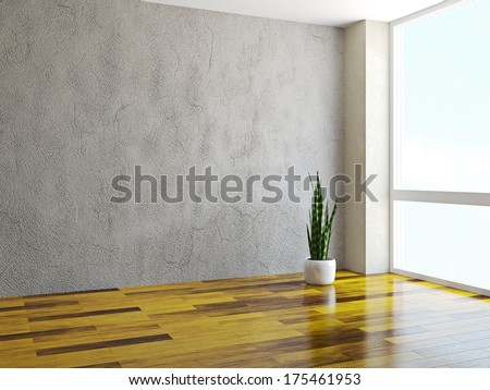 Room with a plant near a window - stock photo