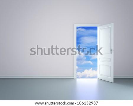 room with an open door in sky - stock photo