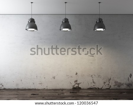 Room with ceiling lamps and grunge wall - stock photo
