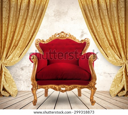 Room with golden curtains and royal armchair - stock photo