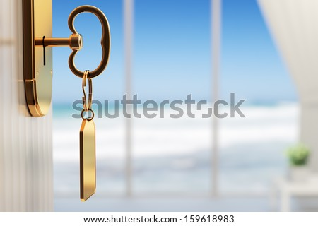 Room with ocean view - The start of a great vacation (3d render with shallow DOF) - stock photo