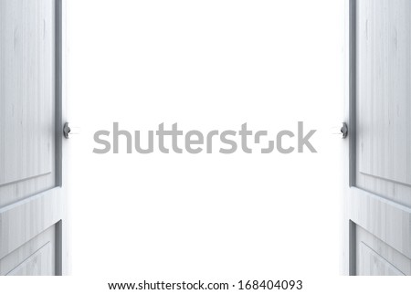 room with open door to white - stock photo