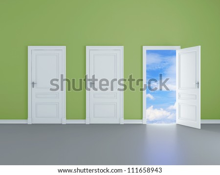 room with opened door to blue sky - stock photo
