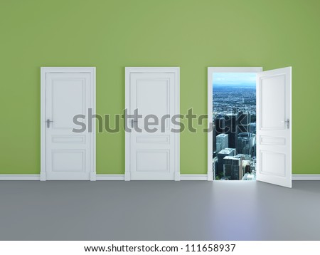 room with opened door to city - stock photo