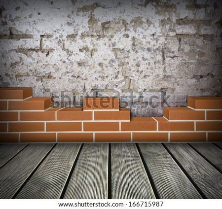 Room with partially built red brickwall and damaged white wall background - stock photo