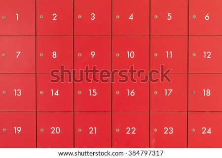 Room with red file cabinets - stock photo