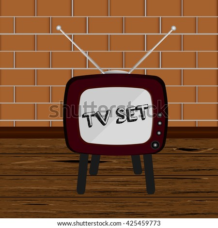 Room with retro tv. Retro TV set. Retro TV, Retro TV, Retro TV, Retro TV, Retro TV, Retro TV, Retro TV, Retro TV, Retro TV, Retro TV, Retro TV, Retro TV, Retro TV, Retro TV, Retro TV, Retro TV,  - stock photo