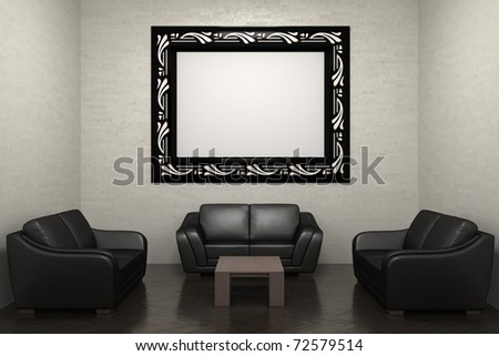 room with sofa and picture frame - stock photo