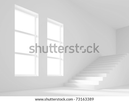 Room with Staircase - stock photo
