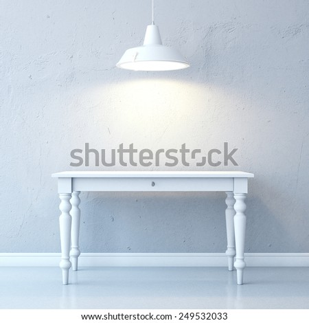 Room with table and white ceiling lamp. 3d rendering - stock photo