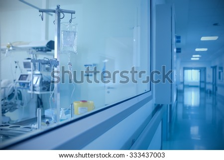 Room with the equipment and corridor in the hospital - stock photo
