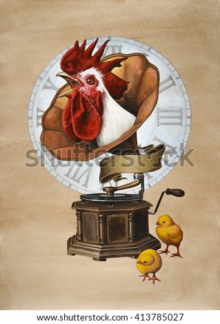 Rooster and gramophone.  Acrylic painting on paper toned coffee. - stock photo