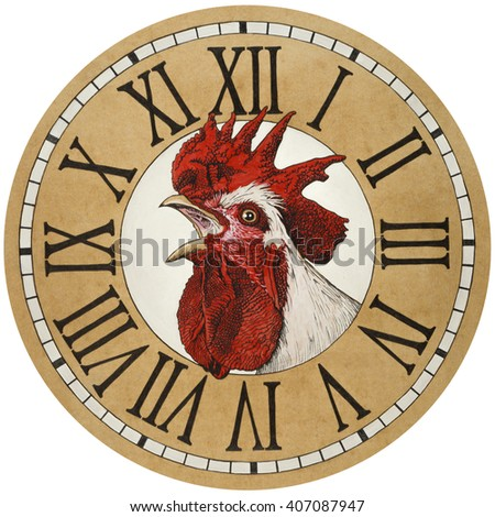 Rooster in the watch dial.  - stock photo