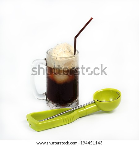 Root beer float with scoop isolated on white background - stock photo