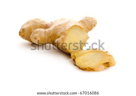 root ginger isolated on white background - stock photo