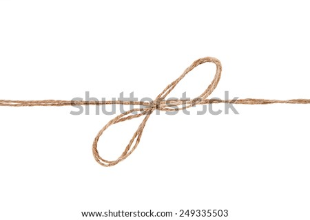 Rope and bow isolated on white background - stock photo