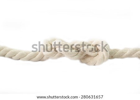 rope and knot on a white background - stock photo
