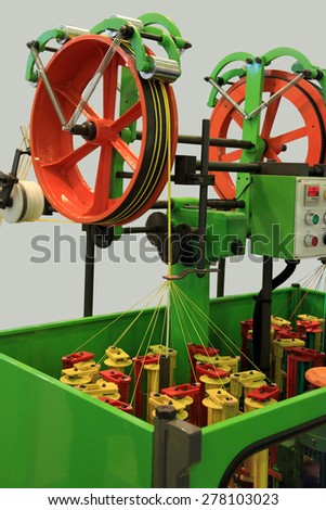 Rope braiding machine for the weaving industry - stock photo
