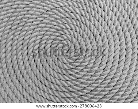 Rope Coil black and white - stock photo