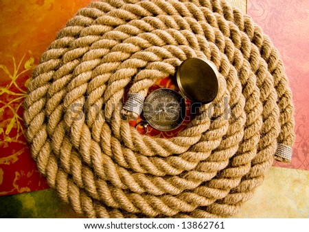 Rope - Compass - stock photo