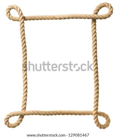 Rope frame isolated on white - stock photo