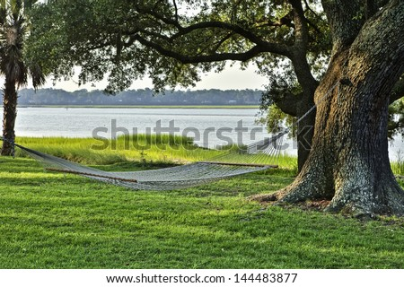rope hammock suspended under huge oak along the water - stock photo