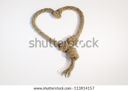 Rope heart 3-dimensional image - stock photo