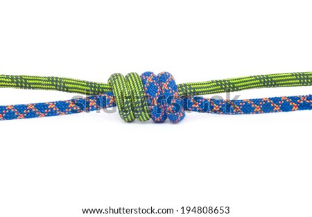 Rope knot isolated on white - stock photo