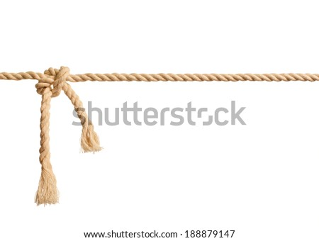 Rope knot on white background - stock photo