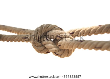 Rope knotted white background Background with copy space - stock photo