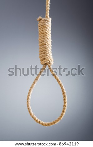 Rope noose against gradient background - stock photo