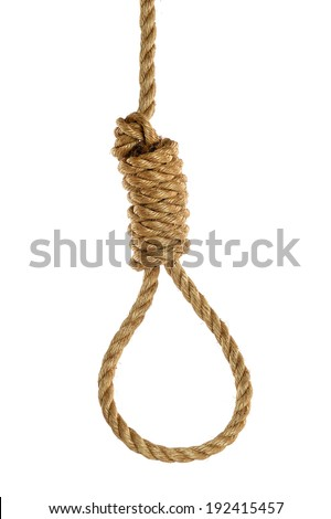 Rope noose isolated over white background. Hangman's noose. - stock photo