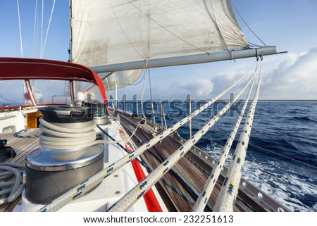 rope on the sail boat - stock photo