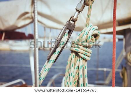 rope on the yacht on Sailing regatta - stock photo