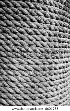 Rope Texture (Black and White) - stock photo